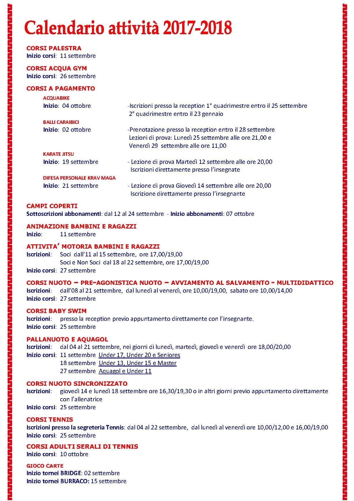 Calendario Milano.Sporting Club Milano 2 Calendario Attivita 2017 2018