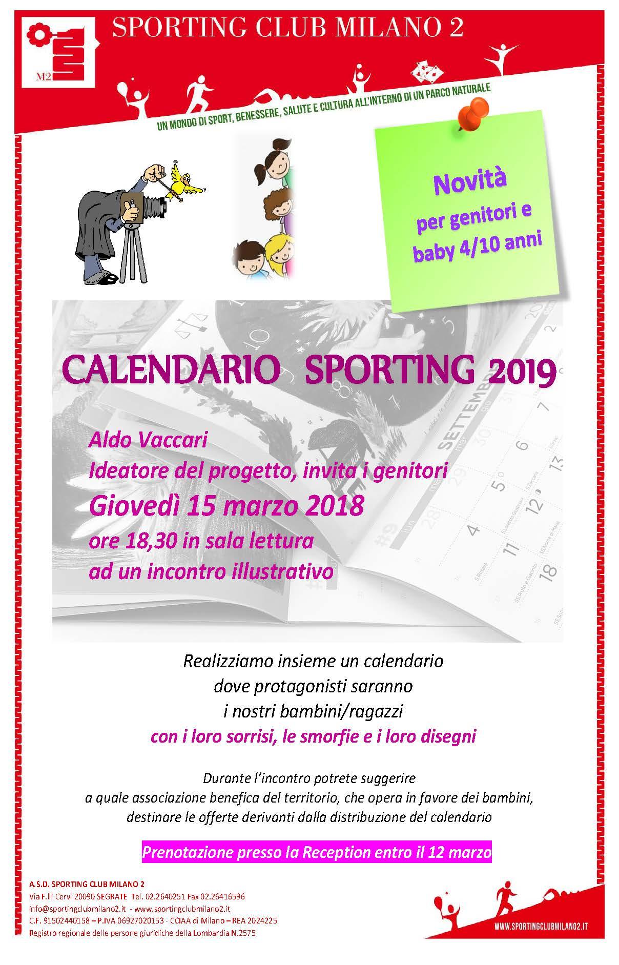 Calendario Milano.Sporting Club Milano 2 Calendario Sporting 2019