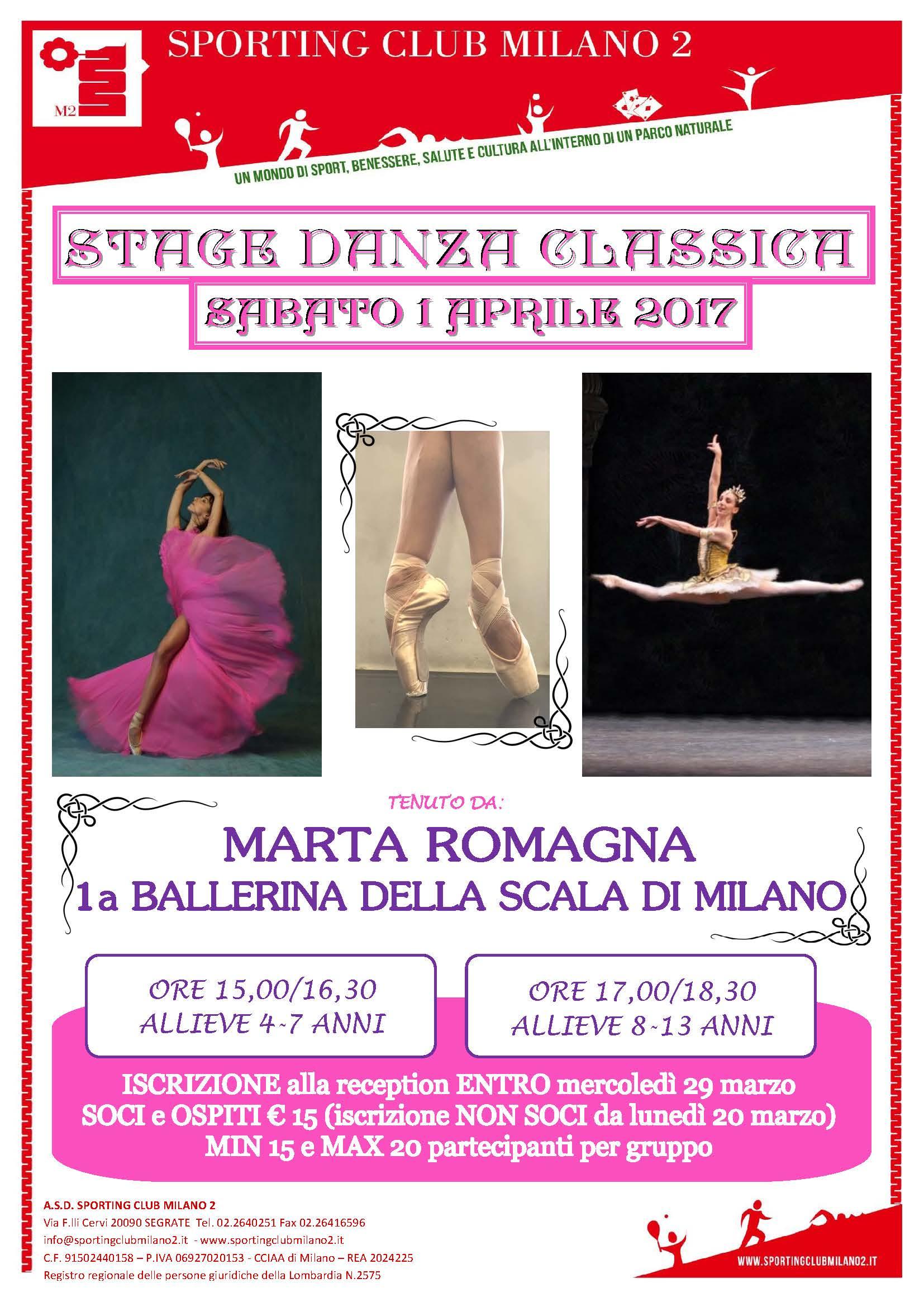 Sporting club milano 2 stage danza for Eventi milano aprile 2017